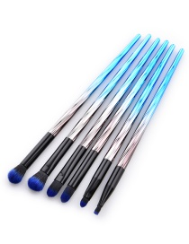 Fashion Blue+black Round Shape Decorated Cosmetic Brush(6pcs)