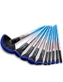 Fashion Blue+black Sector Shape Decorated Cosmetic Brush(10pcs)