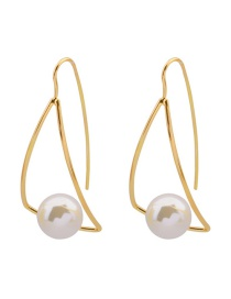 Fashion Gold Color Pearls Decorated Triangle Shape Earrings