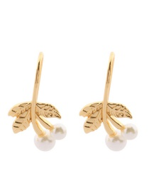Fashion Gold Color Cherry Shape Design Simple Earrings