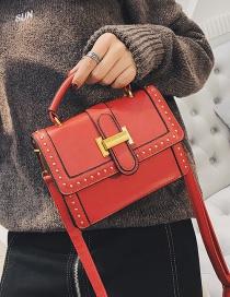 Fashion Red Rivets Decorated Pure Color Shoulder Bag