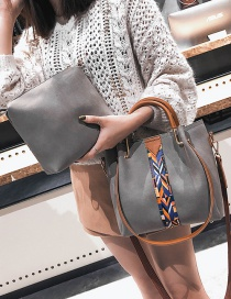 Fashion Light Gray Square Shape Decorated Shoulder Bag (2 Pcs)