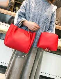 Fashion Red Pure Color Decorated Handbag(2pcs)