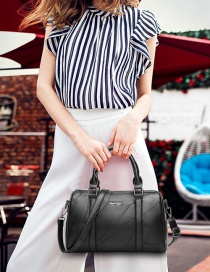 Fashion Black Lines Pattern Decorated Shoulder Bag