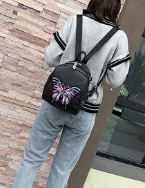 Fashion Black Butterlfy Pattern Decorated Mini Backpack