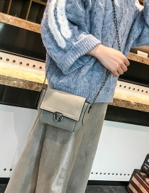 Fashion Gray Square Shape Design Pure Color Shoulder Bag