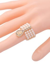 Fashion Gold Color+white Pearls Decorated Multi-layer Ring