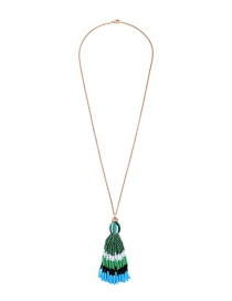Fashion Green+blue Beads Decorated Long Tassel Necklace