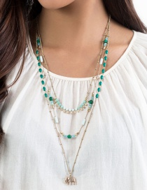 Fashion Gold Color+green Elephant Pendant Decorated Multi-layer Necklace