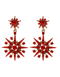 Fashion Red Snowflower Shape Decorated Earrings