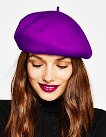 Fashion Dark Purple Pure Color Decorated Berets