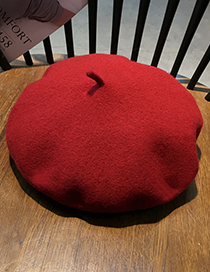 Fashion Brick Red Pure Color Decorated Berets