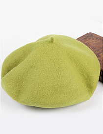 Fashion Light Green Pure Color Decorated Berets
