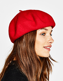 Fashion Red Pure Color Decorated Berets