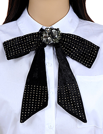 Fashion Black Rivet Decorated Pure Color Bowknot Brooch