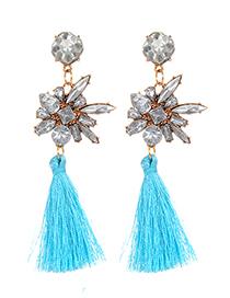 Fashion Blue Diamond Decorated Tassel Earrings
