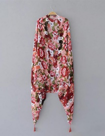 Fashion Red Flower Pattern Decorated Scarf