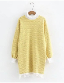 Fashion Yellow Tassel Decorated Long Sleeves Long Sweater