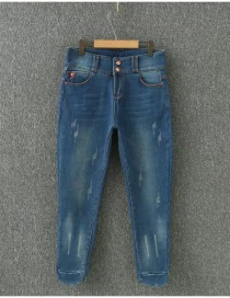 Fashion Blue Pure Color Decorated Thicken Jeans