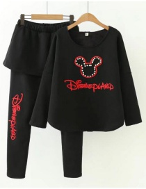 Fashion Black Mickey Mouse Pattern Decorated Suits