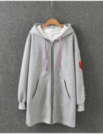 Fashion Light Gray Zippers Decorated Thicken Long Hoodie