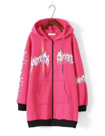 Fashion Plum Red Graffiti Pattern Decorated Thicken Hoodie