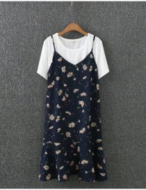 Fashion Navy Flower Pattern Decorate Simple Suits(shirt+dress)