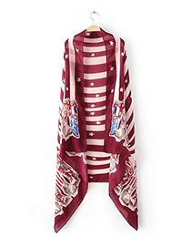 Fashion Claret Red Pentagram&army Boots Pattern Decorated Scarf