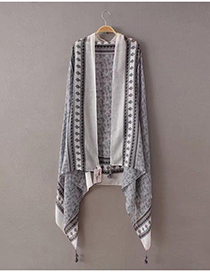 Fashion Gray Flower Pattern Decorated Tassel Scarf