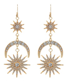 Fashion Gold Color Star&crescent Shape Design Long Earrings