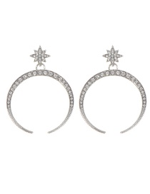 Fashion Silver Color Star&crescent Shape Design Pure Color Earrings