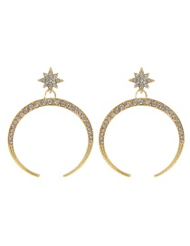 Fashion Gold Color Star&crescent Shape Design Pure Color Earrings