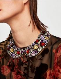 Fashion Multi-color Full Diamond Decorated Color Matching Choker