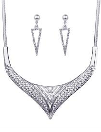Fashion Silver Color Diamond Decorated Triangle Shape Jewelry Sets