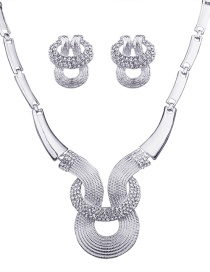 Fashion Silver Color Diamond Decorated Geometric Shape Jewelry Sets
