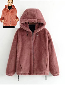 Fashion Red Pure Color Decorated Simple Coat