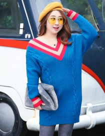 Fashion Blue V Neckline Design Long Sleeves Dress