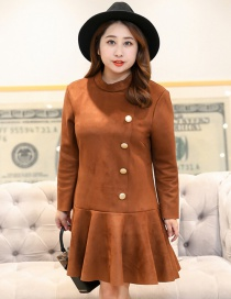 Fashion Coffee Buttons Decorated Pure Color Dress