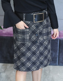 Fashion Black+gray Grid Pattern Decorated Simple Skirt