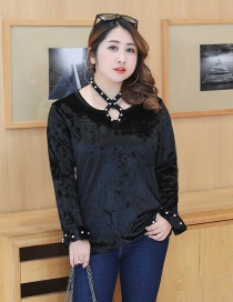 Fashion Black Pearls Decorated Hollow Out Blouse