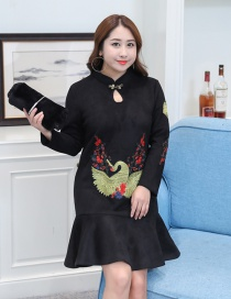 Trendy Black Embroidery Decorated Long Sleeves Dress