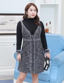 Trendy Gray+black Tassel Decorated Long Sleeves Dress(2pcs)