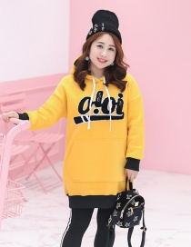 Trendy Yellow Letter Pattern Decorated Thicken Hoodie