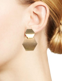 Fashion Gold Color Hexagon Shape Design Pure Color Earrings