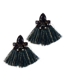 Fashion Black+dark Green Diamond Decorated Tassel Earrings