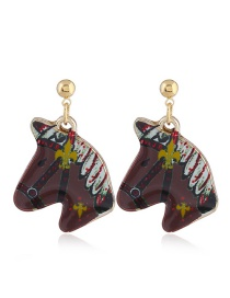 Fashion Brown Horse Shape Decorated Earrings