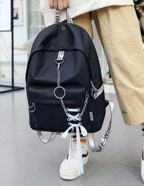 Fashion Black Chain&bowknot Shape Decorated Backpack