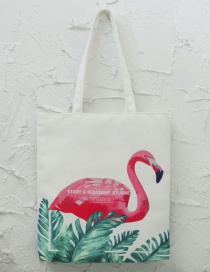 Lovely White Flamingo Pattern Decorated Bag