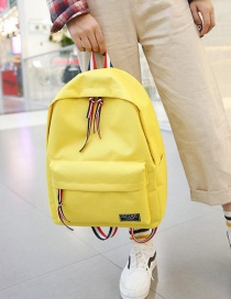 Fashion Yellow Pure Color Decorated Backpack