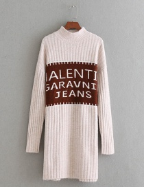 Fashion Beige Letter Shape Decorated Long Sweater